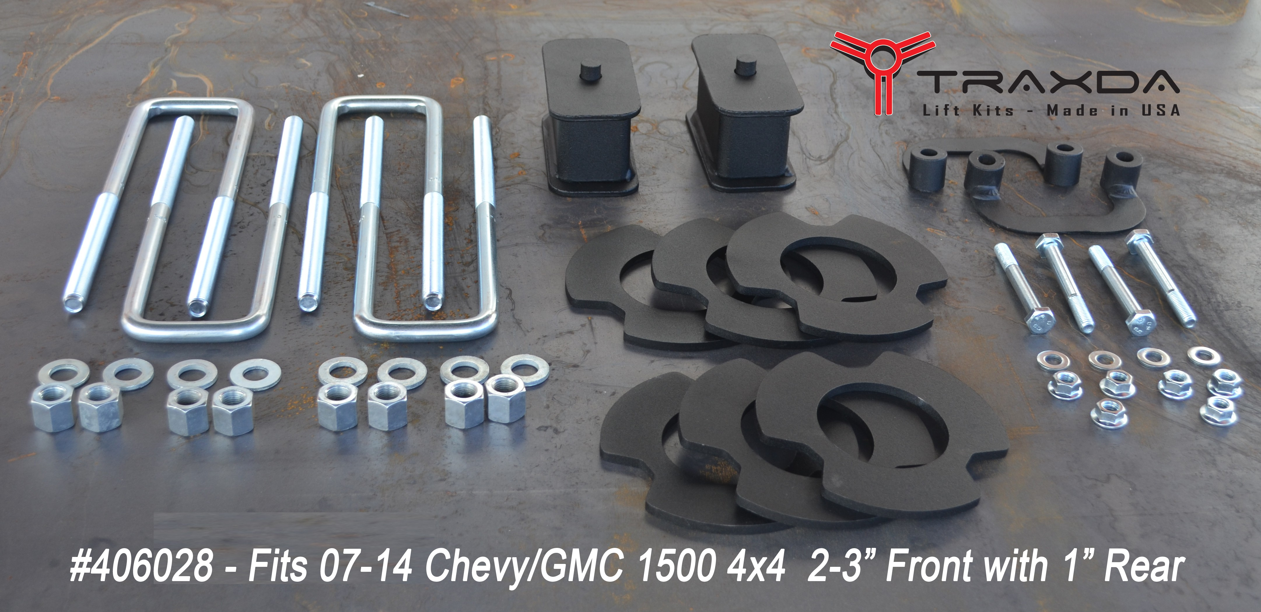"Kit #406028 - 2007-2014 Chevrolet Silverado 1500/GMC Sierra 1500 - 2-3"" Front and Rear Lift Kit"